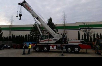 crane outside construction site